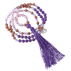 Gemstone Mala Necklace Amethyst, Rock Crystal, Rose Quartz (Vitality)