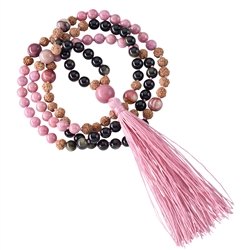 Gemstone Mala Necklace Mookaite, Obsidian, Rhodonite (Healing)