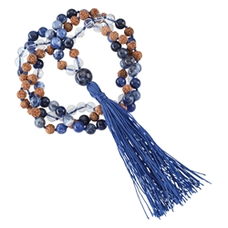 Gemstone Mala Necklace Rock Crystal, Sodalite (Truthfulness)
