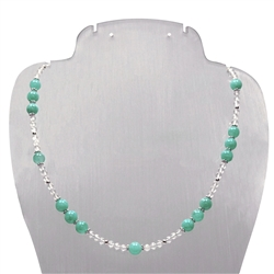 Collier Amazonite, Rock Crystal, 45cm