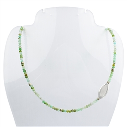 Collier Chrysoprase facetted, 45cm