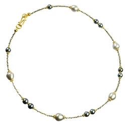 Collier Pearl, Pyrite faceted, 44mm