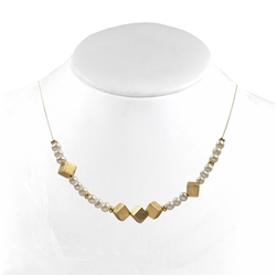 Collier Pearl, Gold Cubes, 43 - 50cm
