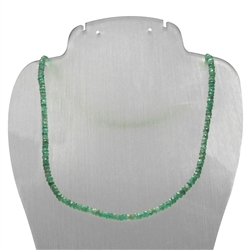 Necklace Button, Emerald facetted, 04/43-49cm, Silver gold plated