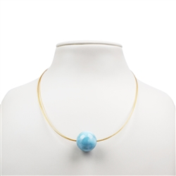 Collier Larimar AA, Bead 18mm, 42-47cm, Silver gold plated