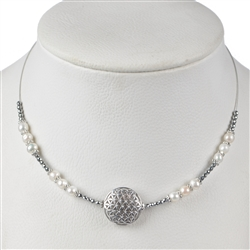 Collier Flower of Life, Pearl, Hematine, 45 - 51cm