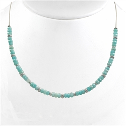 Collier Amazonite Buttons, diamond cut Silver Button, 44 - 50cm