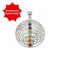 "Pendant ""Flower of Life"" with Chakra Stones, 3,2cm, Brass silver plated"