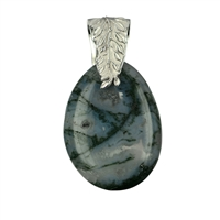 "Pendant Moss Agate with Loop ""Leaf"""