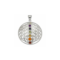 Pendant Flower of Life with Chakra Stones, 3,2cm, Silver