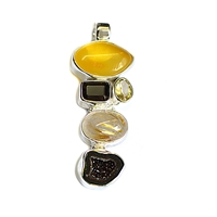 Pendant Amber, Rutilated Quartz, Citrine (heated), Agate, appr. 5cm