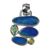 Pendant Opal Doublet, Topaz faceted, Peridot faceted, appr. 2,8cm