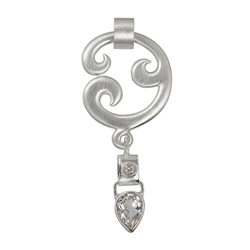 "Pendant ""Paisley"", Silver with Topaz (white), 6cm"