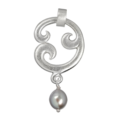 "Pendant ""Paisley"" simple, Silver with Pearl (grey), 5cm"