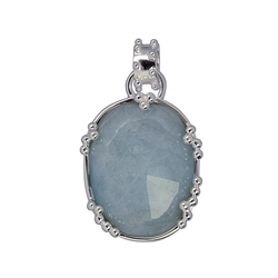 Pendant Aquamarine facted, Sphere Decor, 3,7cm