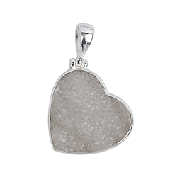 Pendant Agate (Druzy) Heart, 2,1 - 2,3cm (medium)