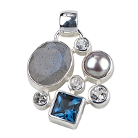 Pendant Labradorite, Topaz blue (treated) and white, Pearl, 30 x 20mm