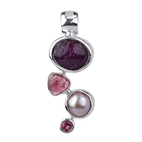 Pendant Ruby, Tourmaline red, faceted, Pearl, 30 x 12mm