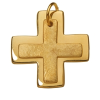 "Symbol-Pendant ""Greek Double-Cross"", 925 Silver gold plated, matt/polished"