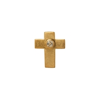 "Symbol-Pendant ""Passion-Cross"", with Topaz, 925 Silver gold plated, matt"