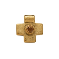 "Symbol-Pendant ""Greek-Cross"", with Citrine, 925 Silver gold plated, matt"