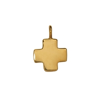 "Symbol-Pendant ""Greek-Cross"", small, 925 Silver gold plated, polished"