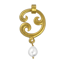"Pendant ""Paisley"" simple, Silver goldplated with Pearl (white), 5cm"