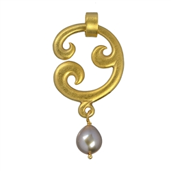 "Pendant ""Paisley"" simple, Silver goldplated with Pearl (grey), 5cm"