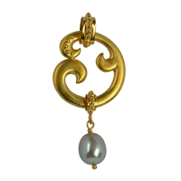 "Pendant ""Paisley"", Silver goldplated with Pearl (grey), 5cm"