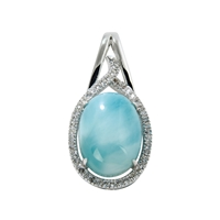 Series 10 Design Pendant Larimar and Topaz, 32x16mm (large)