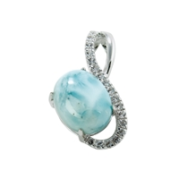 Series 3 Design Pendant Larimar and Topaz, 23x14mm (large)