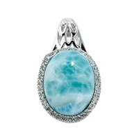 Series 12 Design Pendant Larimar and Topaz, 28x16mm (large)