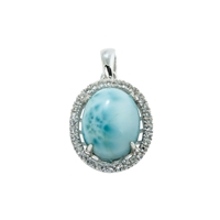 Series 11 Design Pendant Larimar and Topaz, 21x13mm (small)