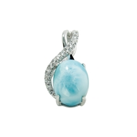 Series 2 Design Pendant Larimar and Topaz, 16x9mm (small)