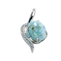 Series 8 Design Pendant Larimar and Topaz, 18x10mm (small)