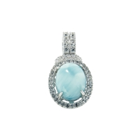 Series 7 Design Pendant Larimar and Topaz, 24x12mm (small)