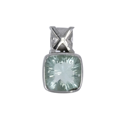 Pendant Fluorite (green) faceted, 2,2cm, rhodium plated