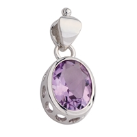 Pendant Amethyst Oval faceted, 3,5cm, rhodium plated
