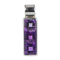 Pendant Amethyst, faceted Squares, 2,6cm, rhodium plated