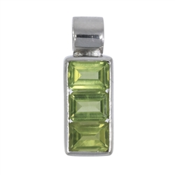 Pendant Peridote, faceted Squares, 2,3cm, rhodium plated