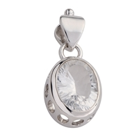 Pendant Rock Crystal Oval faceted, 3,5cm, rhodium plated