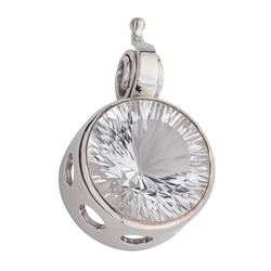 Pendant Rock Crystal round faceted, 4,0cm, rhodium plated