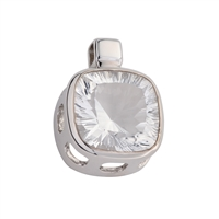 Pendant Rock Crystal Square faceted, 3,0cm, rhodium plated