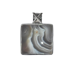 Pendant Agate Square, 3,4cm, rhodium plated