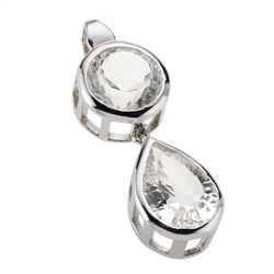 Pendant Rock Crystal round & drop shape faceted, 5,0cm, rhodium plated