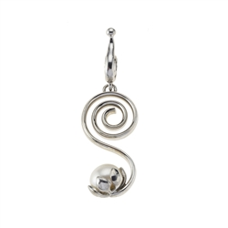 Pendant Spirale with Pearl, 5,3cm, rhodium plated