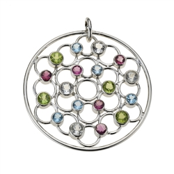 "Pendant Peridote, Topaz, Tourmaline faceted ""Facet Circle/Facetten-Kreis"", 5,0cm, rhodium plated"