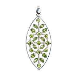 "Pendant Peridote faceted ""Green Lead"", 9f0cm, rhodium plated"