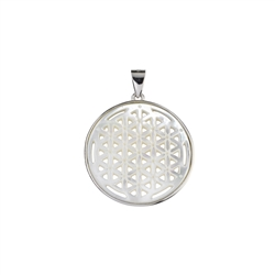 Pendant Flower of Life with MOP, 3,7cm, rhodium plated