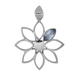 "Pendant ""Flower"" Topaz (blue) faceted, 4,0cm, rhodium plated"